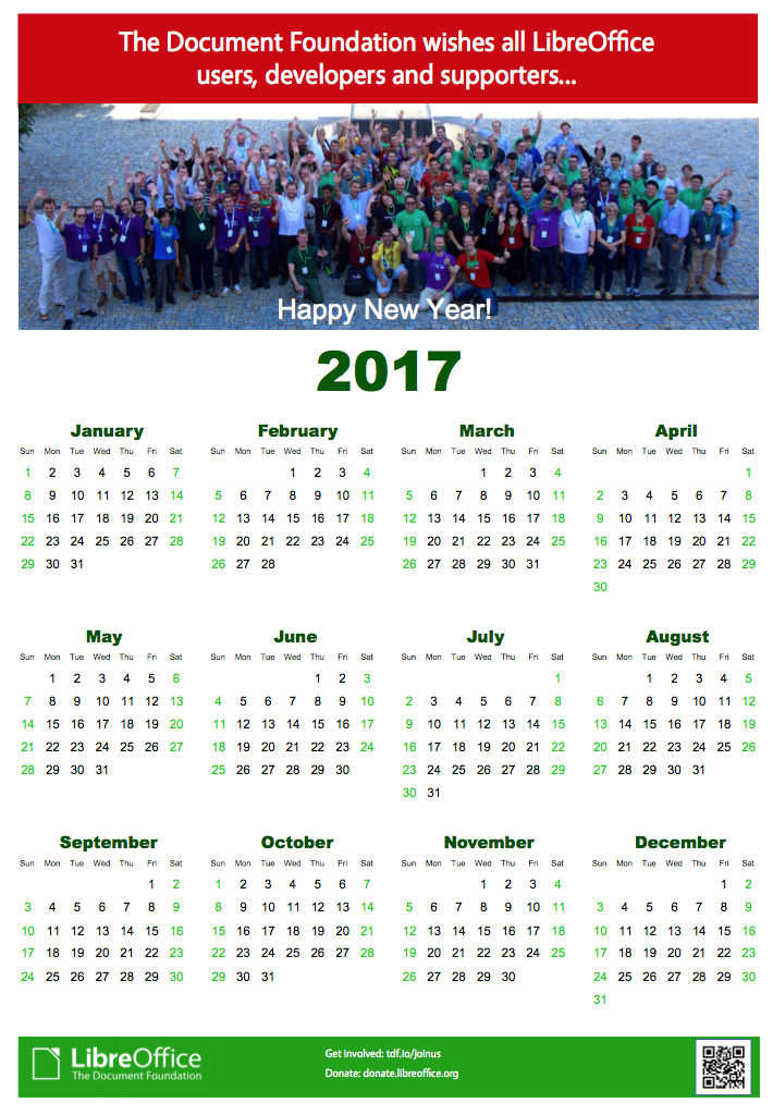 2017 TDF and LibreOffice calendar - The Document Foundation Blog